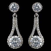 Rhodium Clear CZ Round Drop Earrings