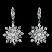 Rhodium Clear CZ Snowflake Earrings