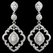 Rhodium Clear CZ Teardrop Dangle Earrings 9806