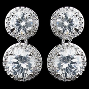 Rhodium Clear Double Pave Round CZ Drop Earrings 9730