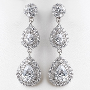 Rhodium Clear Double Teardrop CZ Dangle Earrings 9216