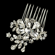 Rhodium Clear Flower Rhinestone Hair Comb 1364