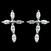 Rhodium Clear Marquise CZ Cross Stud Earrings 9792