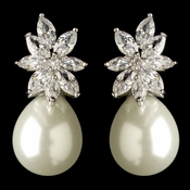 Rhodium Clear Marquise CZ Crystal & Diamond White Pearl Drop Earrings 7414