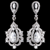 Rhodium Clear Marquise CZ Drop Earrings 9208