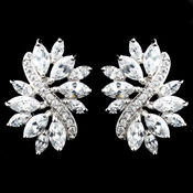 Rhodium Clear Marquise CZ Stud Earrings 9620