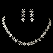 Rhodium Clear Marquise Flower CZ Crystal Jewelry Set 1542