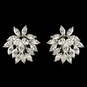 Rhodium Clear Marquise & Oval CZ Crystal Stud Earrings 82053