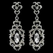 Rhodium Clear Marquise Rhinestone Dangle Earrings