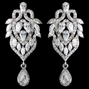 Rhodium Clear Marquise & Teardrop CZ Drop Earrings 9219 **Discontinued**