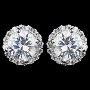 Rhodium Clear Mini Pave Round CZ Stud Earrings 8846