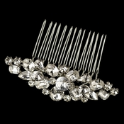 Rhodium Clear Multi Cut Rhinestone Hair Comb 1350