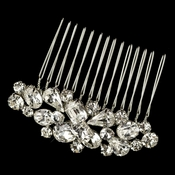Rhodium Clear Multi Cut Rhinestone Hair Comb 1353