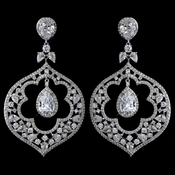 Rhodium Clear Multi CZ Crystal Renaissance Chandelier Earrings 9214