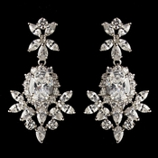 Rhodium Clear Oval & Teardrop CZ Crystal Drop Earrings 9743***Discontinued***