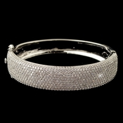 Rhodium Clear Pave CZ Crystal Bangle Bracelet 13047