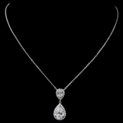 Rhodium Clear Pave CZ Teardrop Pendant Necklace 7761