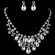Rhodium Clear Pear & Radiant Cut Rhinestone Jewelry Set 82051