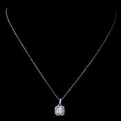 Rhodium Clear Princess Cut Pendant Necklace
