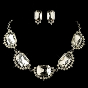 Rhodium Clear Radiant Rhinestone Jewelry Set 4210