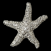 Rhodium Clear Rhinestone Beach Starfish Brooch 160