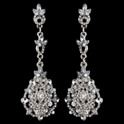 Rhodium Clear Rhinestone Crystal Drop Earrings 3730