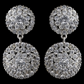 Rhodium Clear Rhinestone Drop Earrings 2347