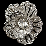 Rhodium Clear Rhinestone Flower Clip