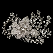 Rhodium Clear Rhinestone Flower & Vine Couture Comb 4658