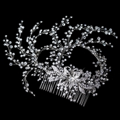 Rhodium Clear Rhinestone Hand Wired Twigs Ribbon Comb