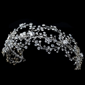 Rhodium Clear Rhinestone Handmade Wired Headband