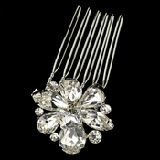 Rhodium Clear Rhinestone Petite Flower Hair Comb 1368