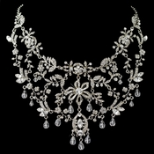 Rhodium Clear Rhinestone & Swarovski Crystal Bead Necklace/Face Headpiece**Discontinued***