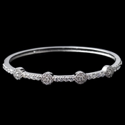 Rhodium Clear Round CZ Bangle Bracelet 80670