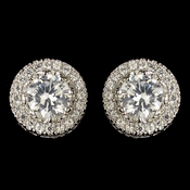 Rhodium Clear Round CZ Crystal Clear Stud Earrings 9415