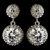 Rhodium Clear Round CZ Crystal Drop Earrings 9732
