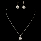 Rhodium Clear Round CZ Crystal Jewelry Set 8582