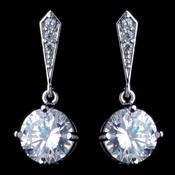 Rhodium Clear Round CZ Dangle Earrings