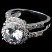 Rhodium Clear Round CZ Halo Ring 5392