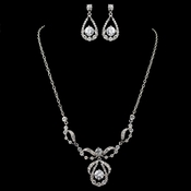 "Plus Size 23"" long Rhodium Clear Round CZ & Rhinestone Jewelry Set"