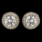 Rhodium Clear Round Stud Pave CZ Crystal Stud Earrings 9409