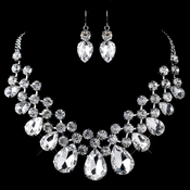Rhodium Clear Round & Teardrop Rhinestone Jewelry Set 82046