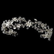 Rhodium Clear Swarovski Crystal Bead & Rhinestone Flexible Floral Headband