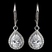 Rhodium Clear Teardrop CZ Drop Earrings **Discontinued**