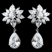 Rhodium Clear Teardrop CZ Drop Earrings 9738