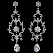 Rhodium Clear Teardrop CZ Flower Chandelier Earrings