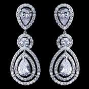 Rhodium Clear Teardrop & Round CZ Dangle Earrings