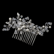 Rhodium Diamond White Pearl & Crystal Comb 4158