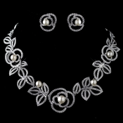 Rhodium Diamond White Pearl Necklace 76013 & Earrings 76013 Rose Jewelry Set