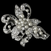 Rhodium Diamond White Pearl & Rhinestone Leaf Clip